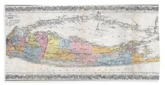 1857 Colton Travellers Map Of Long Island New York Bath Towel