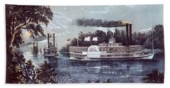 1860s Rounding A Bend On Mississippi Bath Towel
