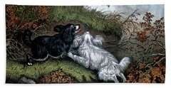 1860s Two Spaniel Dogs Flushing Hand Towel