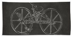 1869 Velocipede Bicycle Patent Artwork - Gray Bath Towel