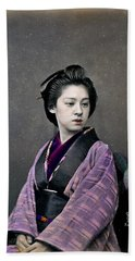 Hand Towel featuring the photograph 1870 Beautiful Japanese Woman by Historic Image