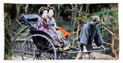 1870 Geisha Girls Traveling In Rickshaw Hand Towel