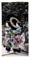 Hand Towel featuring the photograph 1870 Two Geisha Girls Under Umbrella by Historic Image