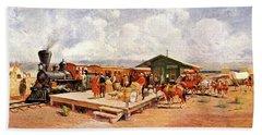 1870s Early Railroad Commerce Travel Bath Towel