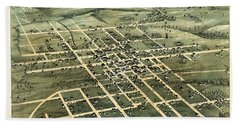1873 Vintage Map Of Brenham Texas Hand Towel
