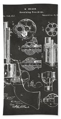 1875 Colt Peacemaker Revolver Patent Artwork - Gray Hand Towel