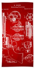 1875 Colt Peacemaker Revolver Patent Red Bath Towel
