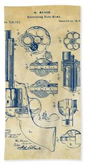 Bath Towel featuring the digital art 1875 Colt Peacemaker Revolver Patent Vintage by Nikki Marie Smith