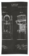 Bath Towel featuring the digital art 1876 Beer Keg Cooler Patent Artwork - Gray by Nikki Marie Smith