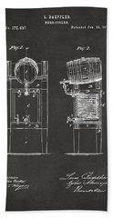 1876 Beer Keg Cooler Patent Artwork - Gray Bath Towel
