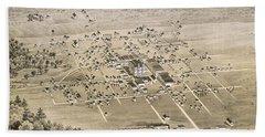 1876 Birds Eye Map Of Mckinney Texas Hand Towel