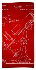 1886 Microscope Patent Artwork - Red Hand Towel