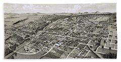 1886 Perspective Map Of Greenville Texas Hand Towel