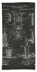 Bath Towel featuring the digital art 1890 Bottling Machine Patent Artwork Gray by Nikki Marie Smith