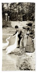 Hand Towel featuring the photograph 1890 Feeding Swans In Paris by Historic Image