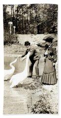 1890 Feeding Swans In Paris Hand Towel
