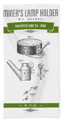 1890 Miners Lamp Holder Patent Drawing - Retro Green Hand Towel