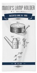 1890 Miners Lamp Holder Patent Drawing - Retro Navy Blue Hand Towel