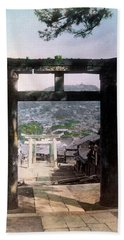 Hand Towel featuring the photograph 1890 Osuwa Temple Gate Of Nagasaki Japan by Historic Image