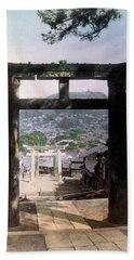 1890 Osuwa Temple Gate Of Nagasaki Japan Hand Towel