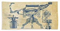 1891 Barber's Chair Patent Artwork Vintage Bath Towel
