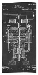 Hand Towel featuring the drawing 1894 Tesla Electric Generator Patent Gray by Nikki Marie Smith
