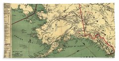 Hand Towel featuring the photograph 1897 Map Of Alaska by Charles Beeler