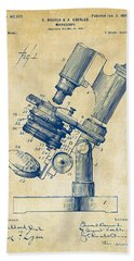 Bath Towel featuring the digital art 1899 Microscope Patent Vintage by Nikki Marie Smith