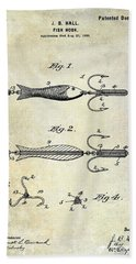 1900 Fishing Hook Patent Drawing Hand Towel