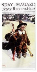 1900s Sunday Magazine Cover Silly Man Hand Towel