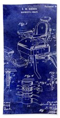 1901 Barber Chair Patent Drawing Blue Bath Towel