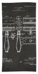 1904 Gillette Razor Patent Artwork - Gray Bath Towel