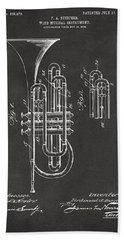 1906 Brass Wind Instrument Patent Artwork - Gray Hand Towel