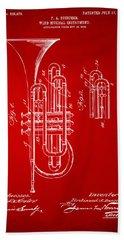 1906 Brass Wind Instrument Patent Artwork Red Hand Towel