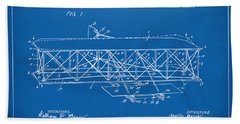 Bath Towel featuring the digital art 1906 Wright Brothers Flying Machine Patent Blueprint by Nikki Marie Smith