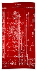 1908 Flute Patent - Red Hand Towel