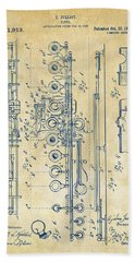 Bath Towel featuring the digital art 1908 Flute Patent - Vintage by Nikki Marie Smith