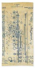 1908 Flute Patent - Vintage Bath Towel
