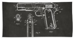 Bath Towel featuring the digital art 1911 Browning Firearm Patent Artwork - Gray by Nikki Marie Smith