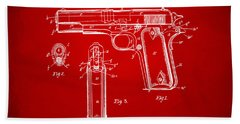 1911 Colt 45 Browning Firearm Patent Artwork Red Bath Towel