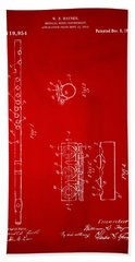 1914 Flute Patent - Red Hand Towel