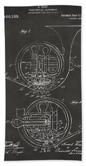 1914 French Horn Patent Art - Gray Hand Towel