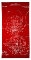 1914 French Horn Patent Art Red Hand Towel