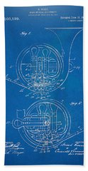 1914 French Horn Patent Blueprint Hand Towel