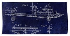 1914 Water Land And Air Machine Patent Blue Bath Towel