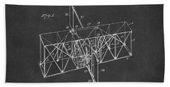 Hand Towel featuring the drawing 1914 Wright Brothers Flying Machine Patent Gray by Nikki Marie Smith