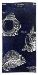 1915 Fish Bowl Patent Drawing Blue Bath Towel