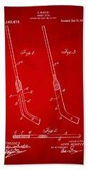 1916 Hockey Goalie Stick Patent Artwork - Red Bath Towel