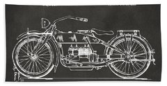 Bath Towel featuring the digital art 1919 Motorcycle Patent Artwork - Gray by Nikki Marie Smith