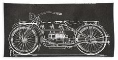 1919 Motorcycle Patent Artwork - Gray Bath Towel